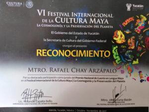FOTO 35 RECONOCIMIENTO DE PARTICIPACION COMO JURADO EN FESTIVAL INTERNACIONAL DE LA CULTURA MAYA 2017. IMG_20171111_103813